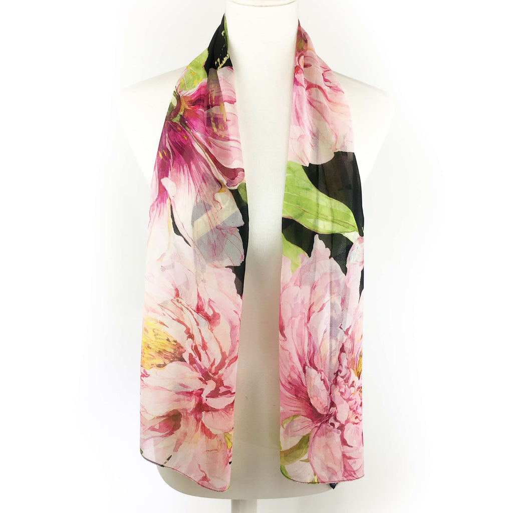Pink watercolor peonies on black chiffon Scarf - UndertheLeafDesigns.com