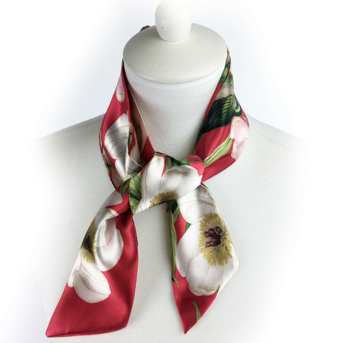 White peonies and hummingbirds on red artisan scarf - modern size - UndertheLeafDesigns.com