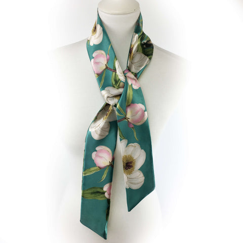 White peonies and hummingbirds on turquoise artisan scarf - modern size