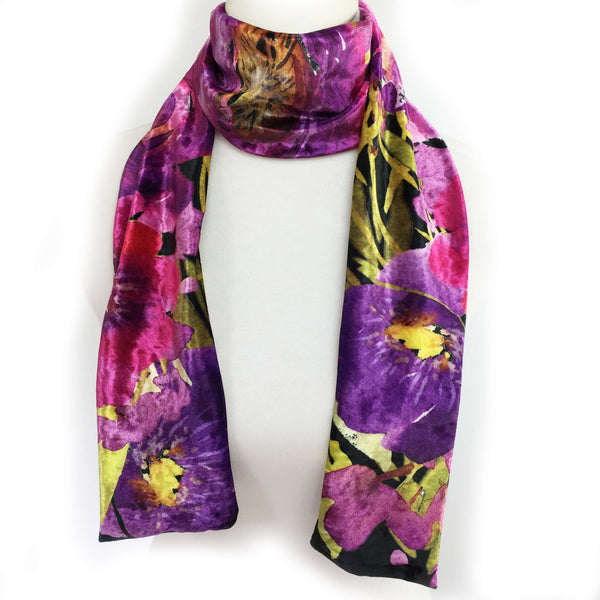 Purple and Crimson Watercolor Scarf on Black - All season velour - UndertheLeafDesigns.com
