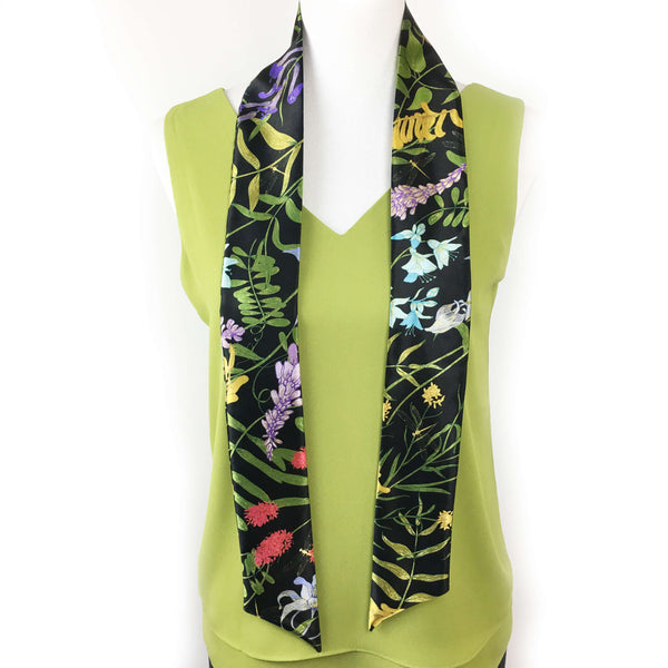 Wildflower garden with dragonflies skinny scarf on black - UndertheLeafDesigns.com