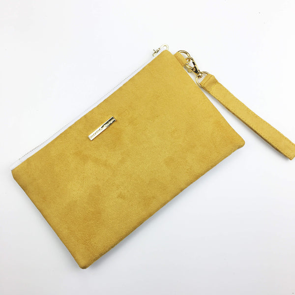 Wild yellow rose wristlet with gold accent - vegan leather/suede - UndertheLeafDesigns.com