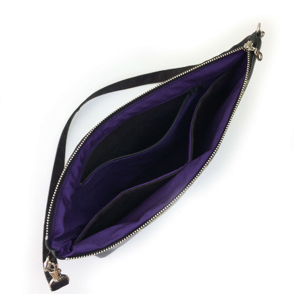 Wisteria on Black Zip Top Shoulder Bag - Vegan Leather/ Suede - UndertheLeafDesigns.com