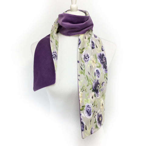 Watercolor purple and lavender floral hand painted velvet scarf