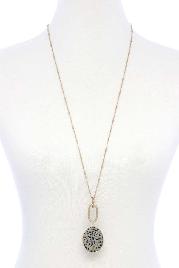 Faux Stone Metallic Edge Screw Lock Pendant Necklace