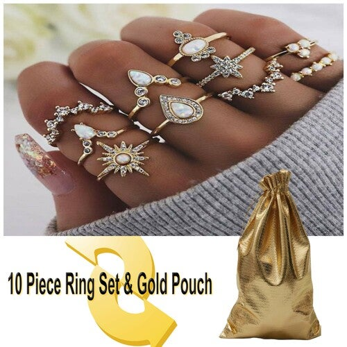 Knuckle Rings Vintage StackAble Joint Midi Finger Rings Set Gold Plated(Pack of 10)