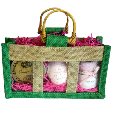 Three Jar Jute Gift Bag - Green - Angelo's Outlet Ltd