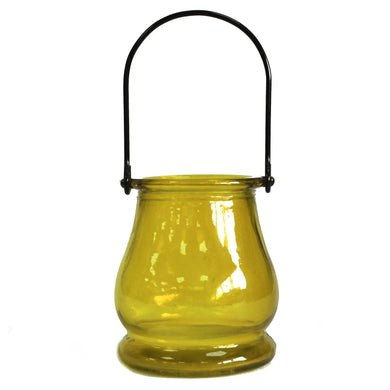 Recycled Candle Lantern - Yellow - Angelo's Outlet Ltd