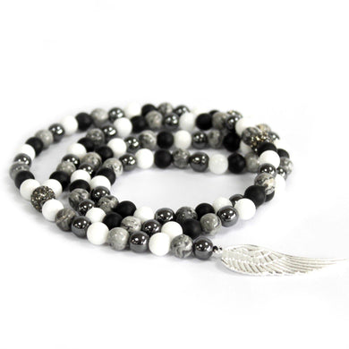 Angel Wing / Grey Agate - Gemstone Necklace - Angelo's Outlet Ltd