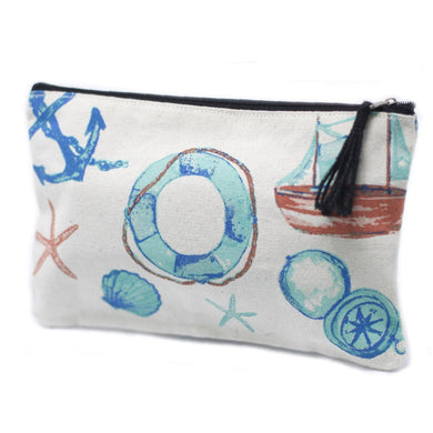 Classic Zip Pouch - Anchors - Angelo's Outlet Ltd
