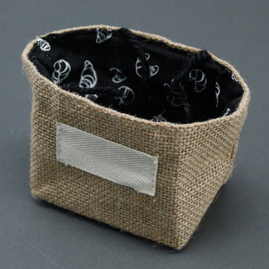 Natural Jute Cotton Gift Bag - Black Lining - Small - Angelo's Outlet Ltd