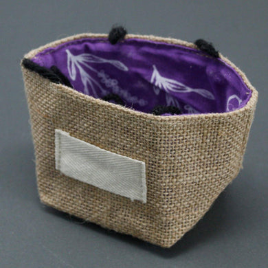 Natural Jute Cotton Gift Bag - Lavender Lining - Small - Angelo's Outlet Ltd