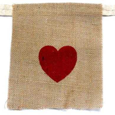Natural Bunting  I LOVE YOU (large with hearts) - Angelo's Outlet Ltd