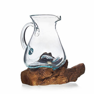 Molten Glass on Wood- Water Jug - Angelo's Outlet Ltd