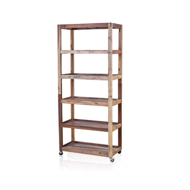 Six Shelf Display with Casters - Recycled Wood - Angelo's Outlet Ltd