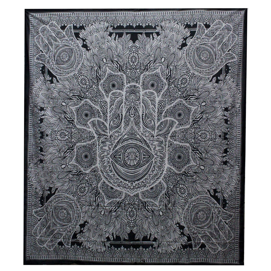 B&W Double Cotton Bedspread + Wall Hanging - Hamsa - Angelo's Outlet Ltd