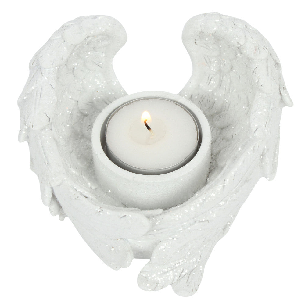 Glitter Angel Wing Candle Holder - Angelo's Outlet Ltd
