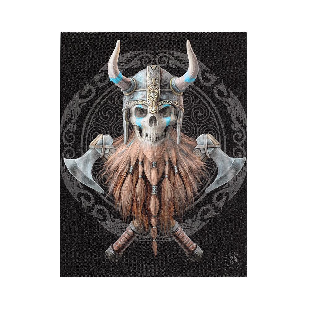 19x25cm Viking Skull Canvas Plaque by Anne Stokes - Angelo's Outlet Ltd