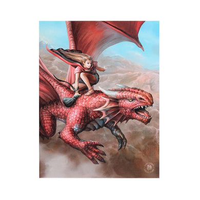 19x25cm Sky Surfer Canvas Plaque by Anne Stokes - Angelo's Outlet Ltd