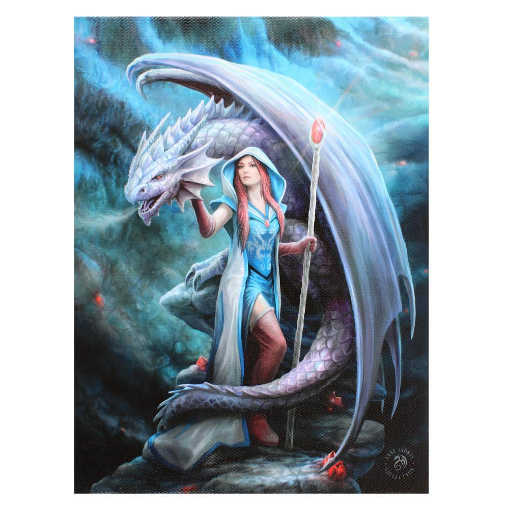 19x25cm Dragon Mage Canvas Plaque by Anne Stokes - Angelo's Outlet Ltd