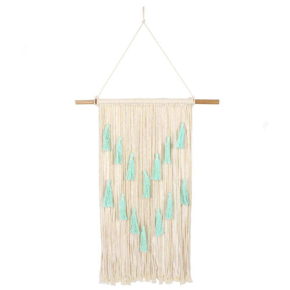 Aqua Macrame Wall Hanging with Tassels - Angelo's Outlet Ltd