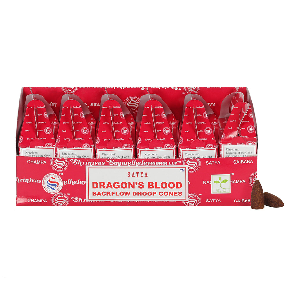 Box of 6 Satya Dragon's Blood Backflow Dhoop Cones - Angelo's Outlet Ltd