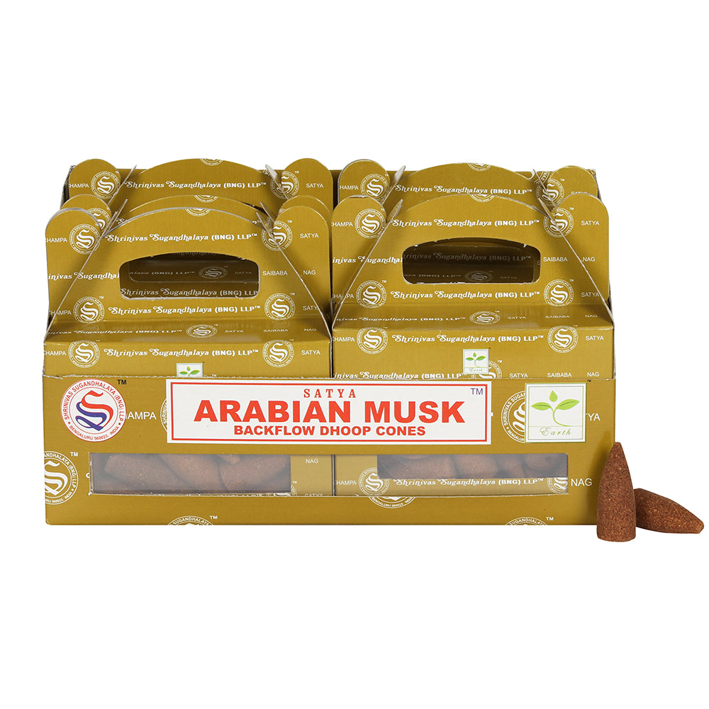 Box of 6 Arabian Musk Backflow Dhoop Cones by Satya - Angelo's Outlet Ltd