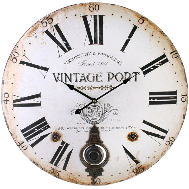 Large Vintage Port Wall Clock with Pendulum - Angelo's Outlet Ltd