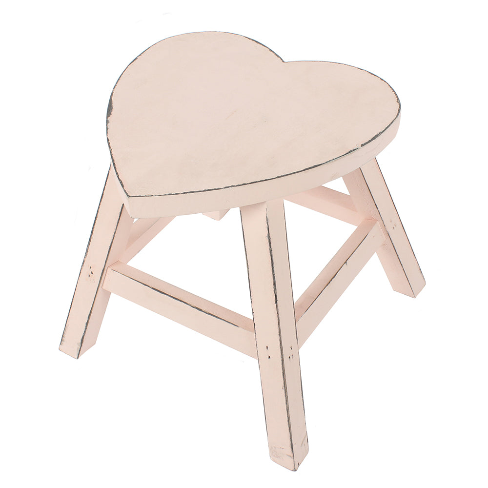 Pink Shabby Heart Stool - Angelo's Outlet Ltd