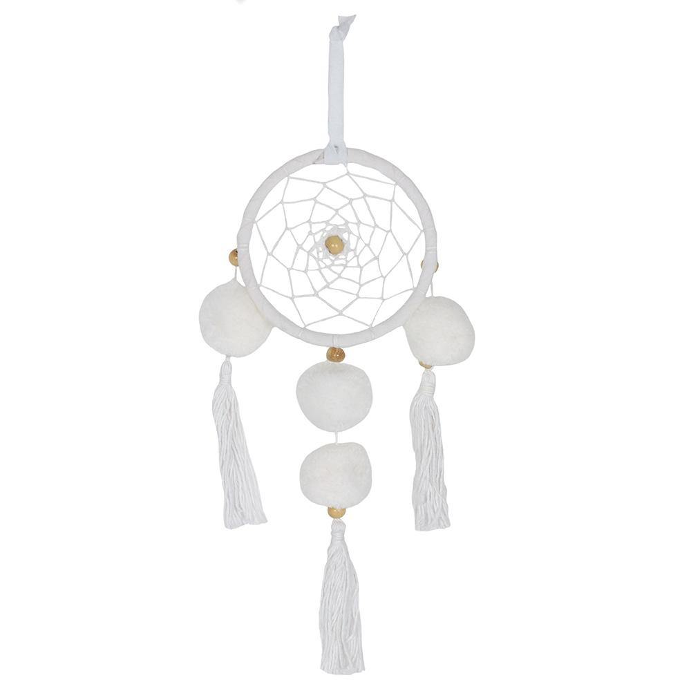 White Pom Pom Dreamcatcher - Angelo's Outlet Ltd