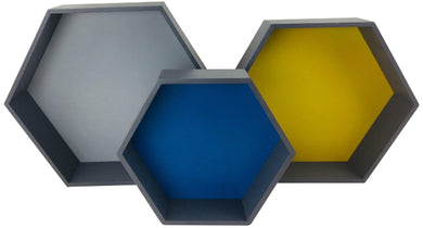 Set of 3 Wooden Hexagon Shelves