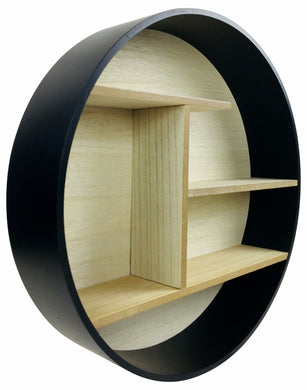 Black Round Shelf Unit 45cm - Angelo's Outlet Ltd