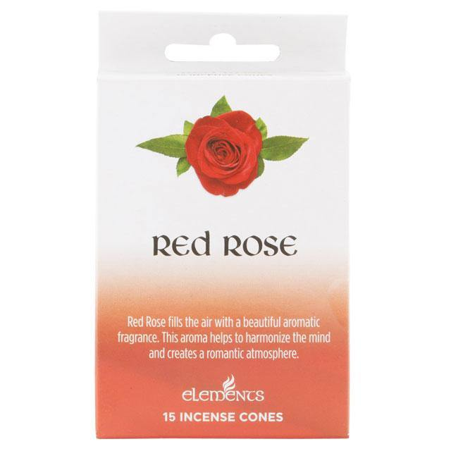 12 Packs of Elements Red Rose Incense Cones - Angelo's Outlet Ltd