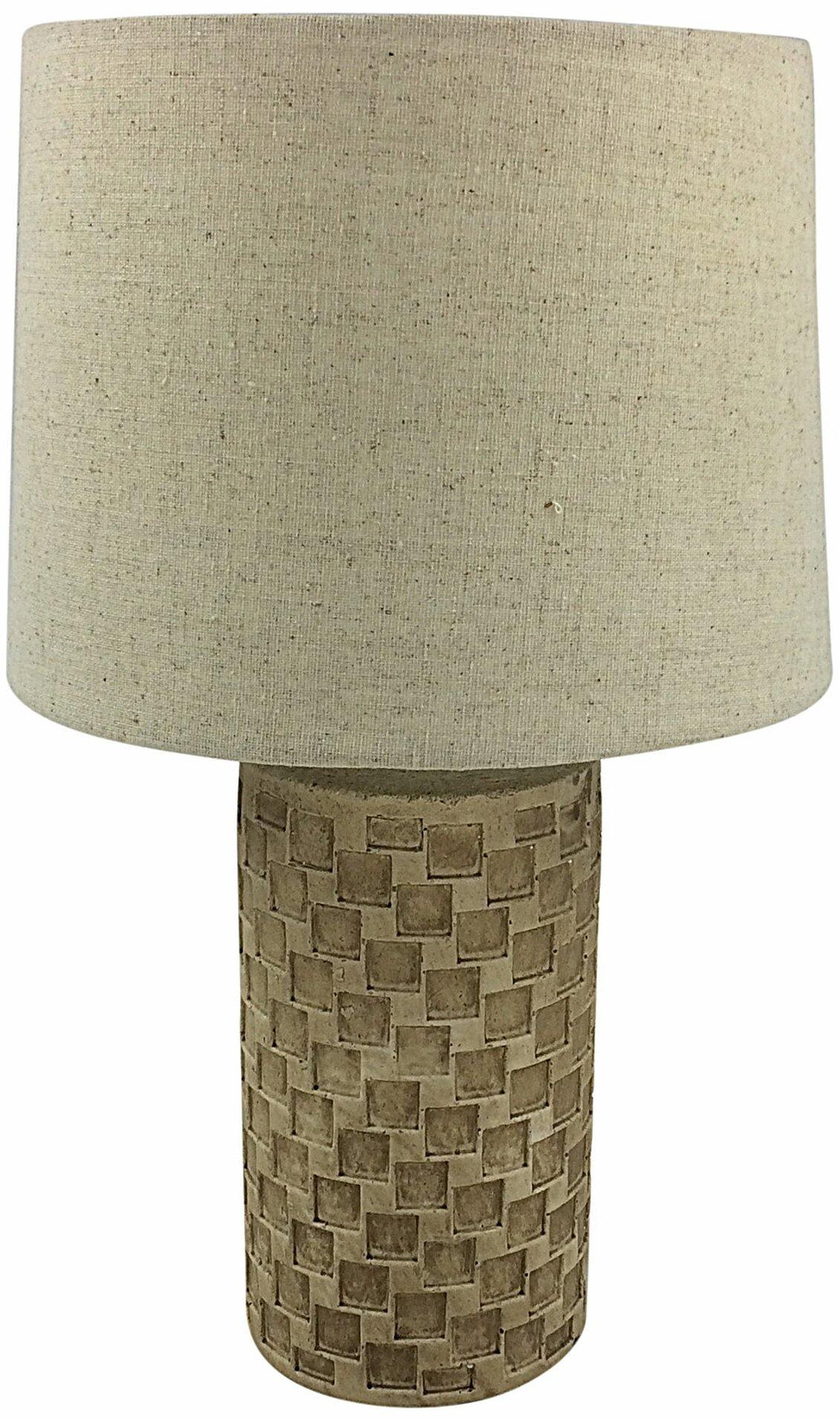 Beige Tile Lamp And Shade 38cm - Angelo's Outlet Ltd