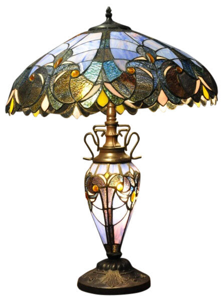 Blue Double Tiffany Lamp 68cm - Angelo's Outlet Ltd