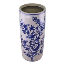 Load image into Gallery viewer, Umbrella Stand, Vintage Blue & White Bird Design