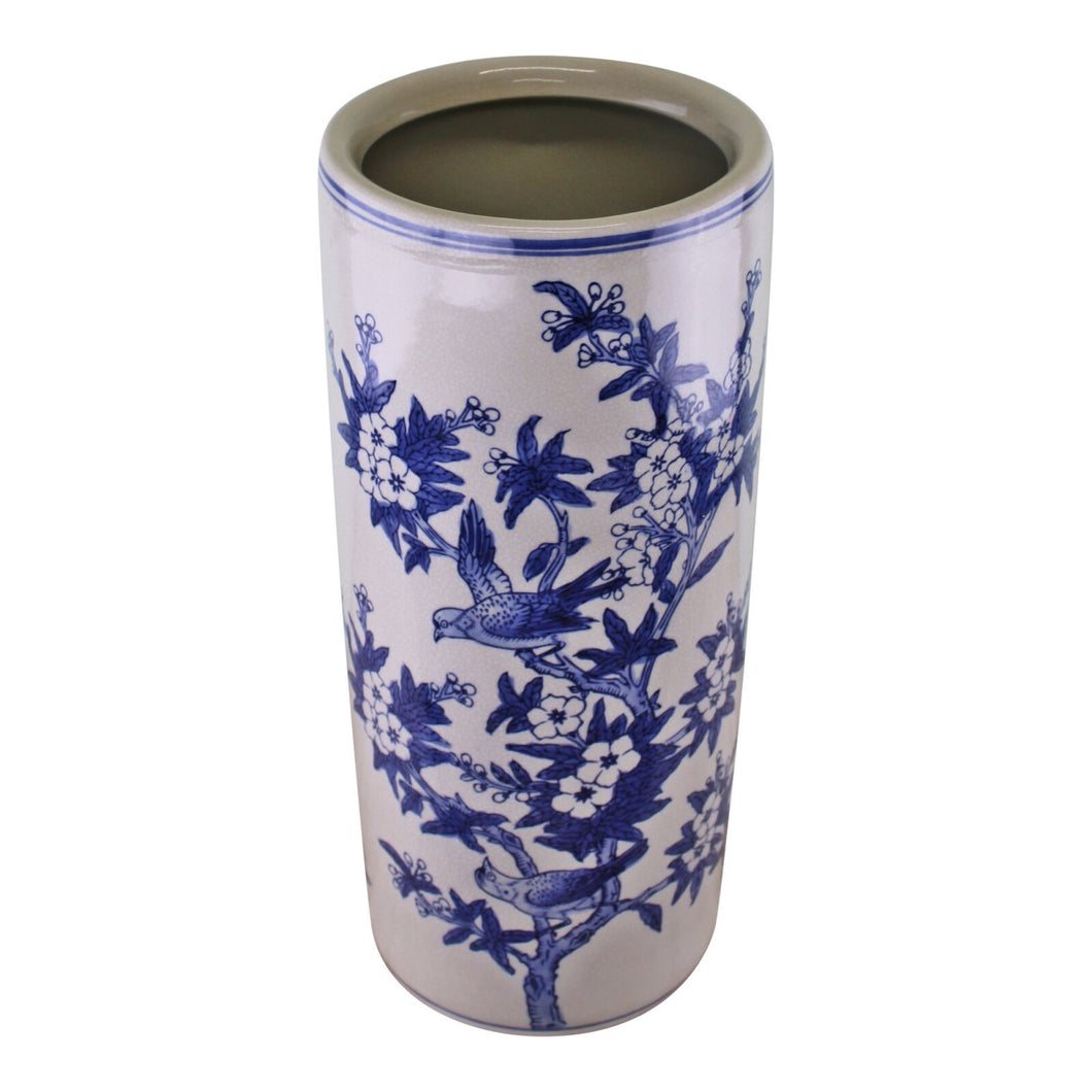 Umbrella Stand, Vintage Blue & White Bird Design