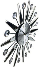 Load image into Gallery viewer, Silver Mirrored Effect Wall Clock 39cm