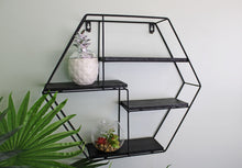 Load image into Gallery viewer, Hexagonal Wall Shelf in Black Metal with 4 Shelves