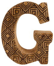 Load image into Gallery viewer, Hand Carved Wooden Geometric Letter G