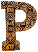 Load image into Gallery viewer, Hand Carved Wooden Geometric Letter P