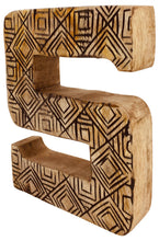 Load image into Gallery viewer, Hand Carved Wooden Geometric Letter S
