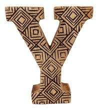 Load image into Gallery viewer, Hand Carved Wooden Geometric Letter Y