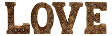 Load image into Gallery viewer, Hand Carved Wooden Geometric Letters Love