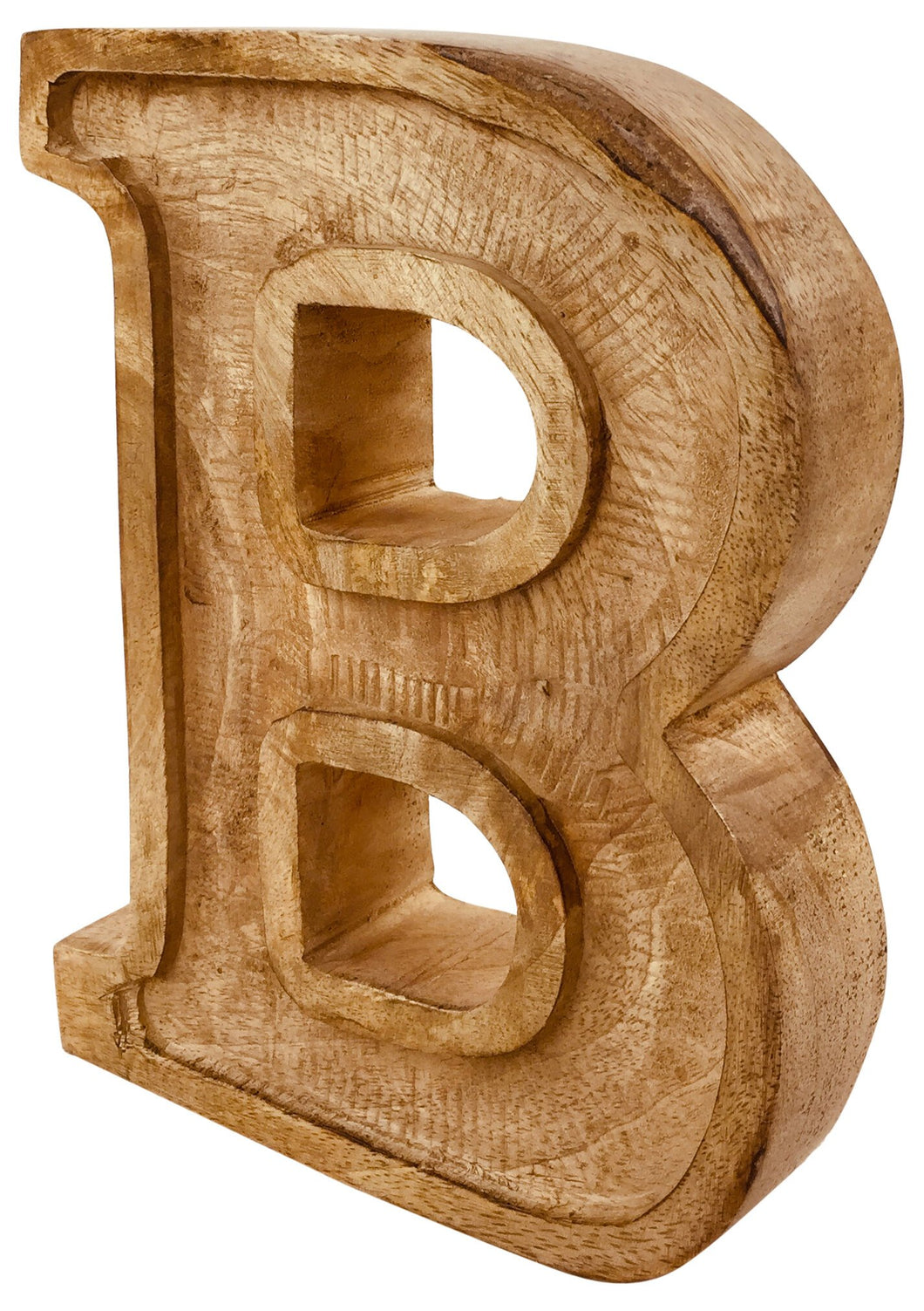 Hand Carved Wooden Embossed Letter B