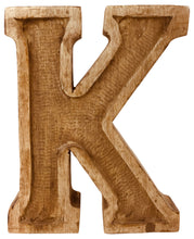 Load image into Gallery viewer, Hand Carved Wooden Embossed Letter K