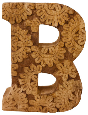 Hand Carved Wooden Flower Letter B