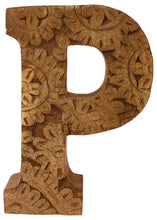 Load image into Gallery viewer, Hand Carved Wooden Flower Letter P