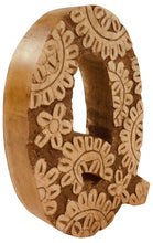Load image into Gallery viewer, Hand Carved Wooden Flower Letter Q