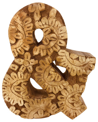 Hand Carved Wooden Flower Letter &
